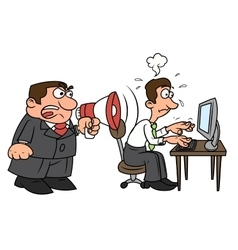 Boss yelling at worker vector image vector image