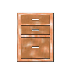 drawing drawers from wooden cabinet image vector image vector image