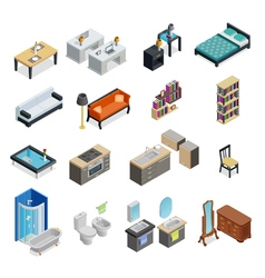 Interior Isometric Objects Set vector image