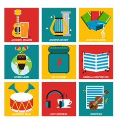 Music nine flat item collection vector image vector image