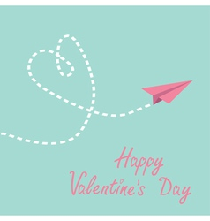 Origami paper plane dash heart valentines day vector