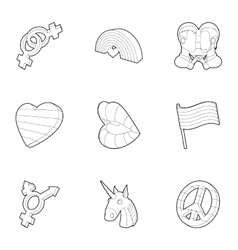 Same-sex love icons set outline style vector image vector image
