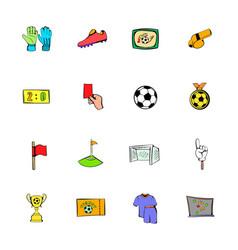 soccer icons set cartoon vector image