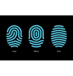 Thumbprint types on black background vector image