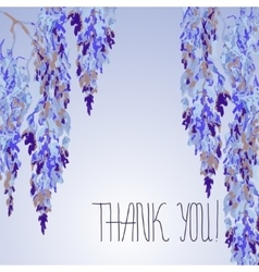 Watercolor floral design of card with Wisteria vector image