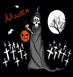 death with pumpkin vector image