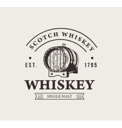 Hand drawn whiskey logo Typography monochrome vector image vector image