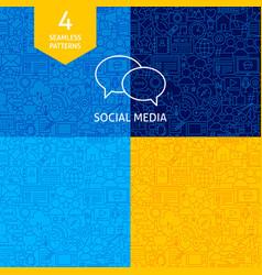 line social media patterns vector image