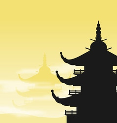 pagoda silhouette at dawn vector image vector image
