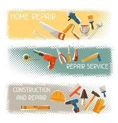 Repair and construction horizontal banners with vector image vector image