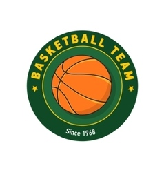 Retro green color basketball badge vector image