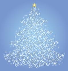 White filigree christmas tree-blue background vector image
