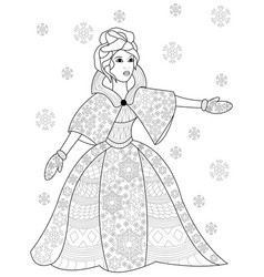 winter woman coloring for adults vector image vector image