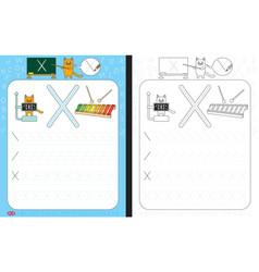 alphabet tracing worksheet vector image vector image
