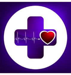 heart and heartbeat symbol vector image vector image