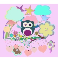 set - owls birds flowers sky cloud vector image vector image