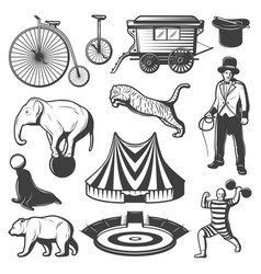 Vintage circus elements collection vector