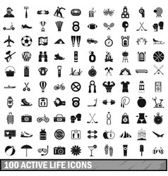 100 active life icons set in simple style vector