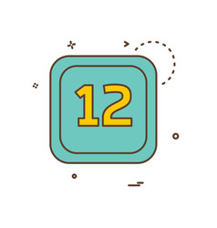 12 date calender icon design vector