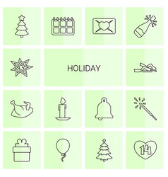 14 holiday icons vector