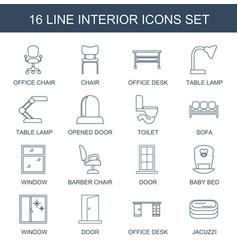 16 interior icons vector