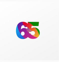 65 years anniversary celebration elegant color vector