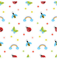 a beautiful pattern with insects vector image