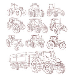 A set tractor sketches vector