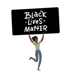 american black girl protester character justice vector image