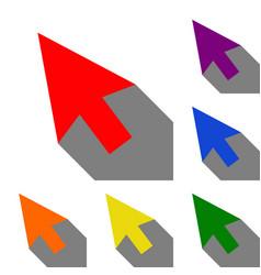arrow sign set of red orange vector image