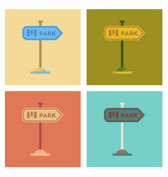 Assembly flat icons park sign vector
