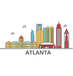 Atlanta city skyline buildings streets vector