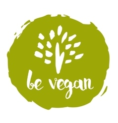 Be vegan hand drawn isolated label vector image