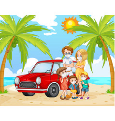 Beach scene with family wearing mask for prevent vector