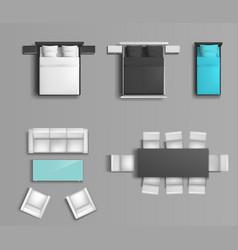 Bedroom and living room furniture set vector