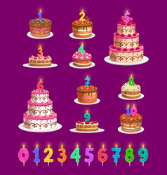 Candles on birthday cakes with age numbers set vector