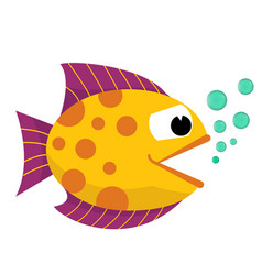 Cartoon happy fish with blowing bubbles flat vector