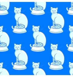 Cat with bowl on blue background vector