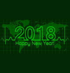 Christmas world map banner 2018 happy new year vector