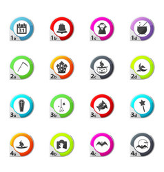 collection of halloween icons set vector image