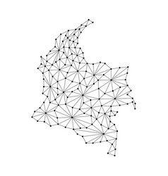 colombia map of polygonal mosaic lines network vector image