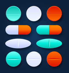 Colorful tablets and pills realistic set vector