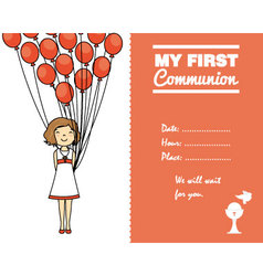 communion invitation card for girl vector image