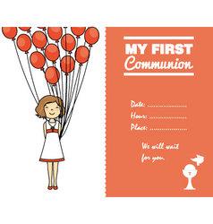 Communion invitation card for girl vector