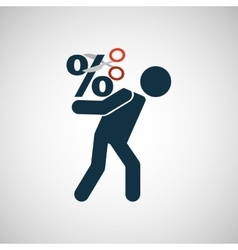 Crisis economy finance concept icon design vector