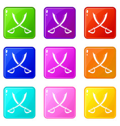 Crossed sabers icons 9 set vector