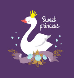 cute cartoon white baswan princess vector image