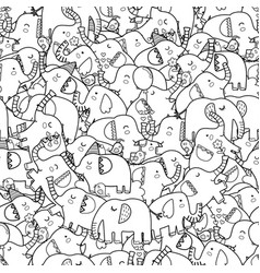 cute elephants black and white seamless pattern vector image