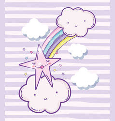 cute fluffy clouds with rainbow and beauty star vector image