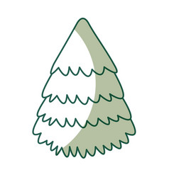 Cute shadow christmas tree vector